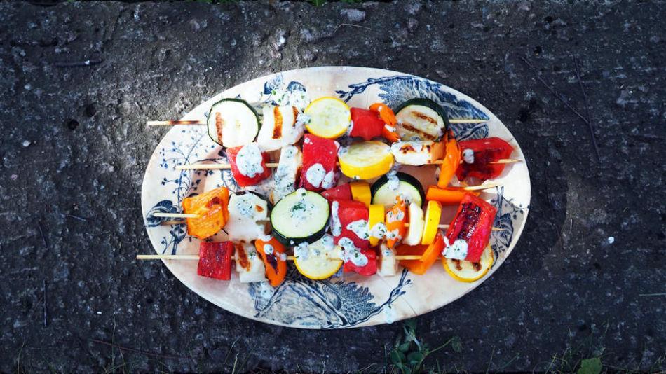 grillspyd halloumi og vannmelon
