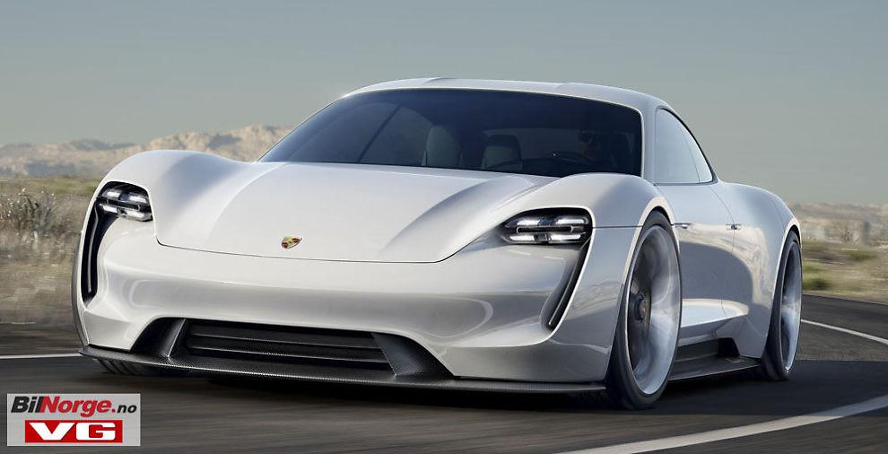 INGEN VEI UTENOM: Til og med luksusmerker som Porsche, Aston Martin og Lamborghini må ha elbiler i porteføljen sin for å oppnå fremtidige utslippskrav – her Porsche Mission E som skal på markedet i 2019.