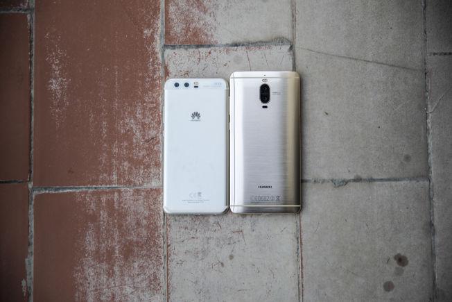 Huawei P10 til venstre, Huawei Mate 9 Pro til høyre. Har du ikke sett en slik før? Den er bare ørlite større enn Galaxy S7 Edge.