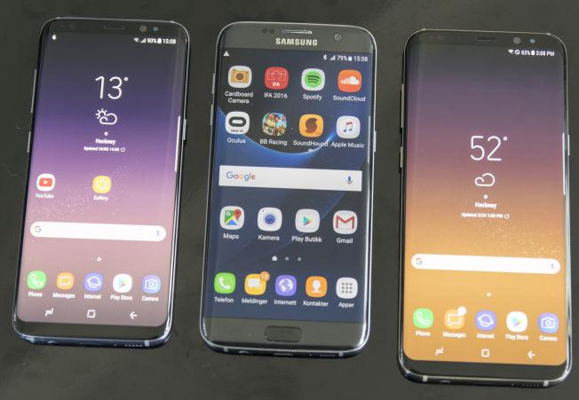 Galaxy S8 til venstre, Galaxy S8+ til høyre. I midten Galaxy S7 Edge.