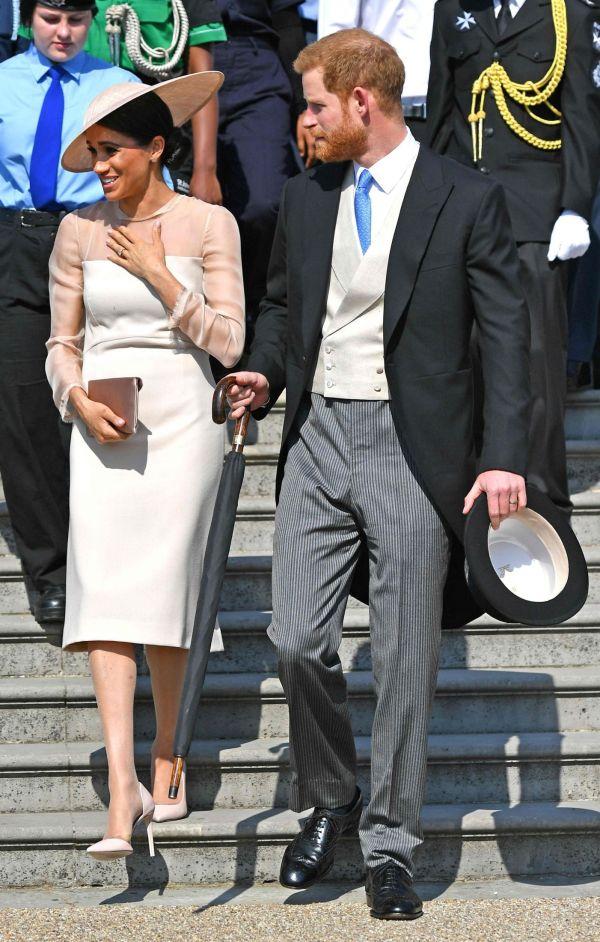STILIG PAR: Meghan Markle og prins Harry under feiringen av prins Charles 70-årsdag. Foto: AFP.